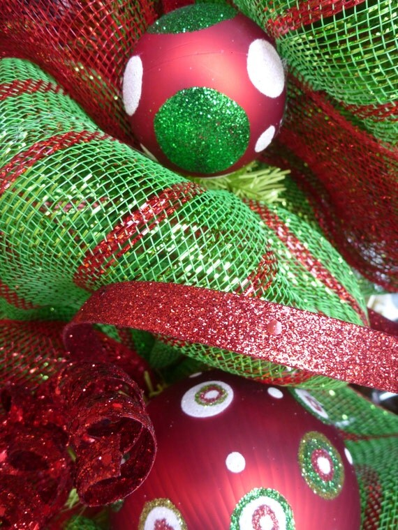 Lime Green And Red Deco Mesh Christmas Wreath By Decoglitz