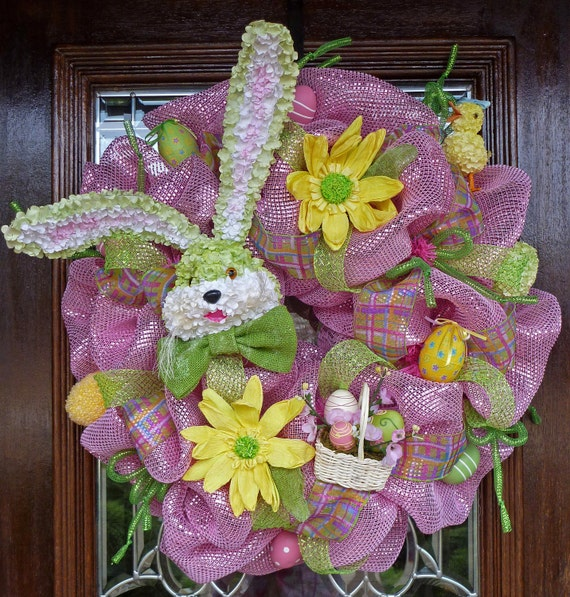 Deco Mesh Whimsical Easter Wreath (Making room for the holidays SALE REDUCED From 99 TO 75)