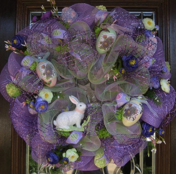 Lavender deco mesh Easter Wreath with Bunny and Decorative Eggs (Making room for the holidays SALE REDUCED From 125 TO 95)