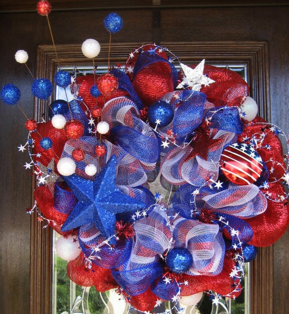 Deco Mesh STARS and STRIPES Patriotic Wreath