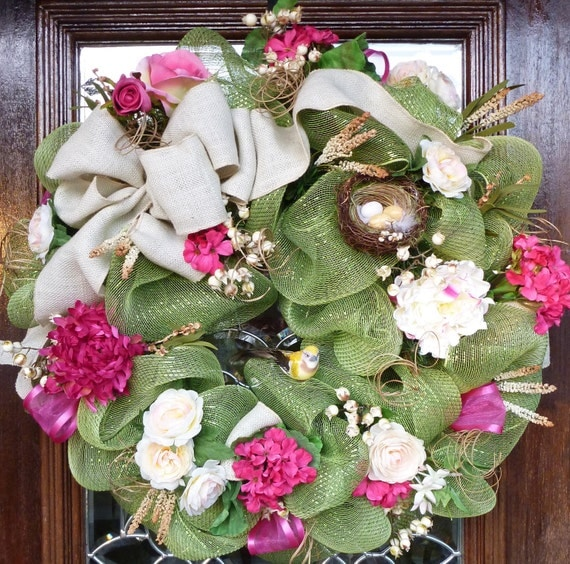 Deco Mesh SPRING WREATH with Natural Burlap Bow