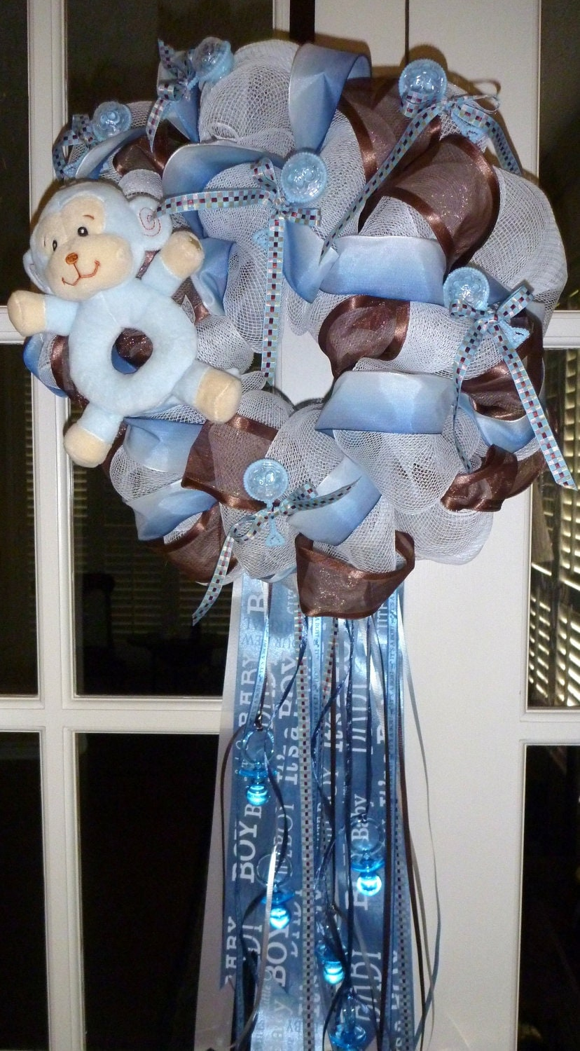 Baby boy wreath by decoglitz on etsy for Baby girl hospital door decoration
