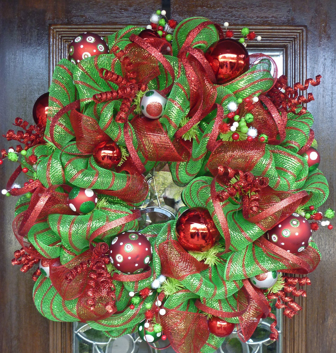 LIME GREEN and RED Deco Mesh Christmas Wreath