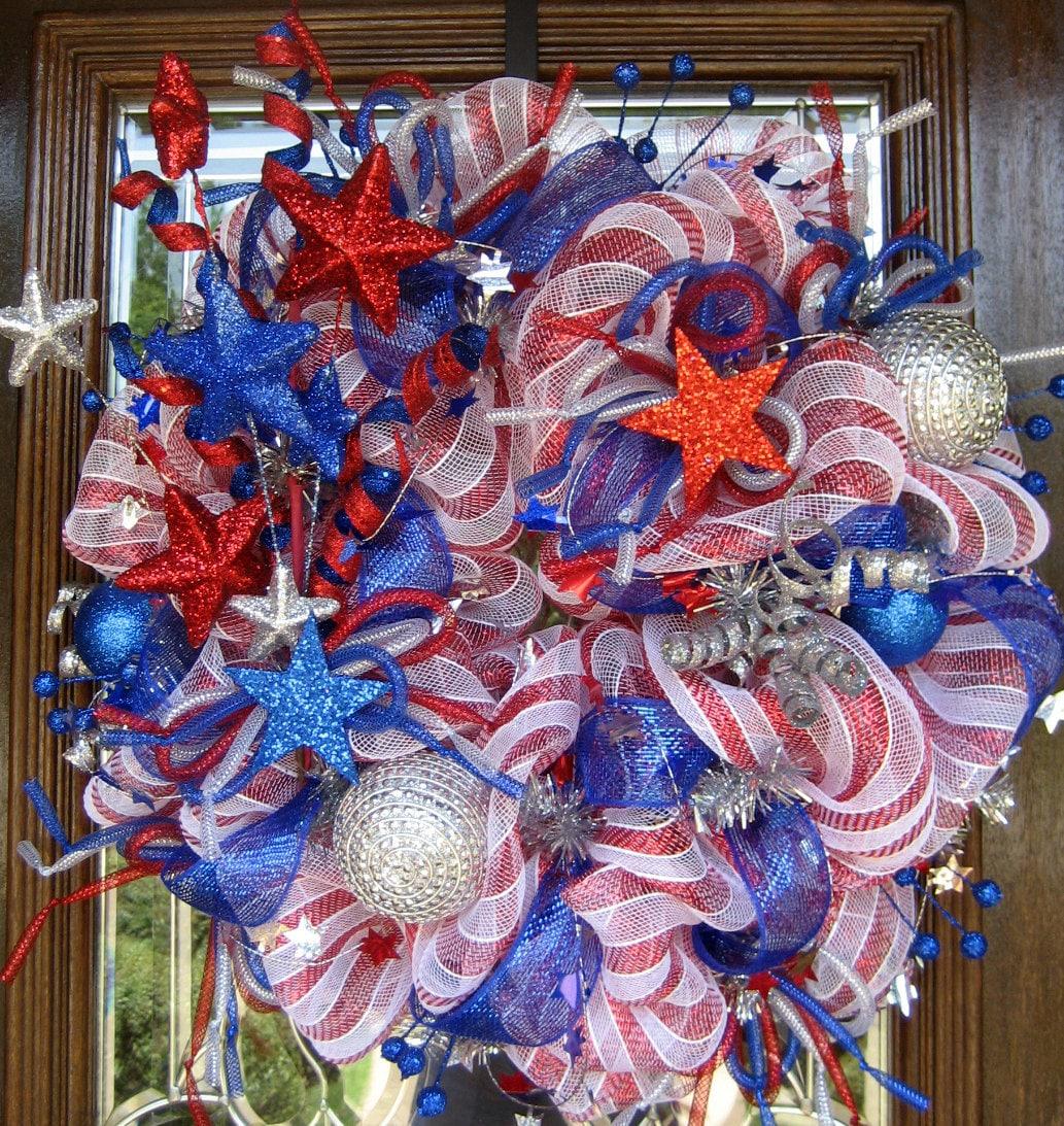 Deco Mesh Stars And Sparkles Patriotic Wreath