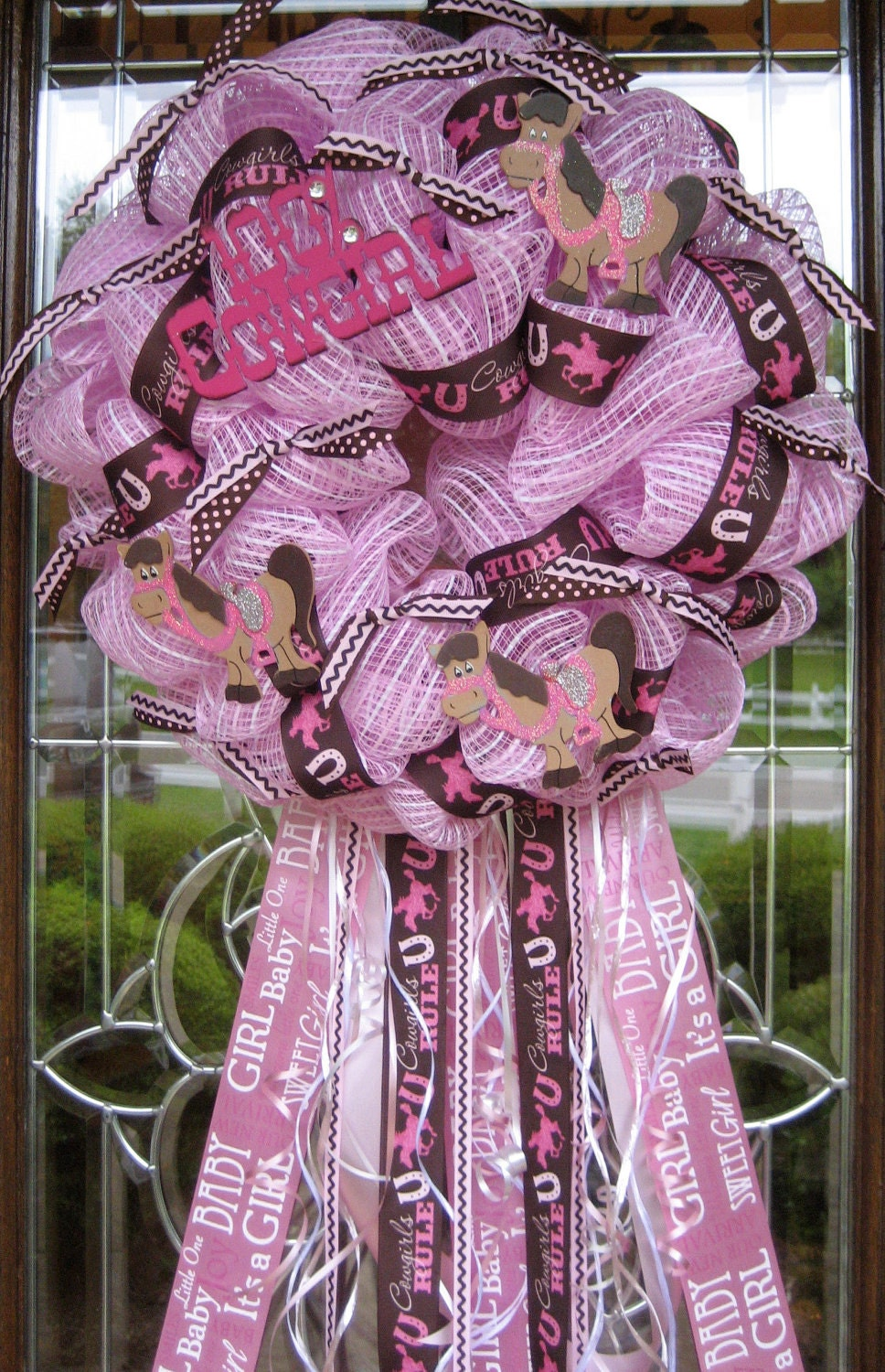 Deco Mesh Baby Cowgirl Wreath
