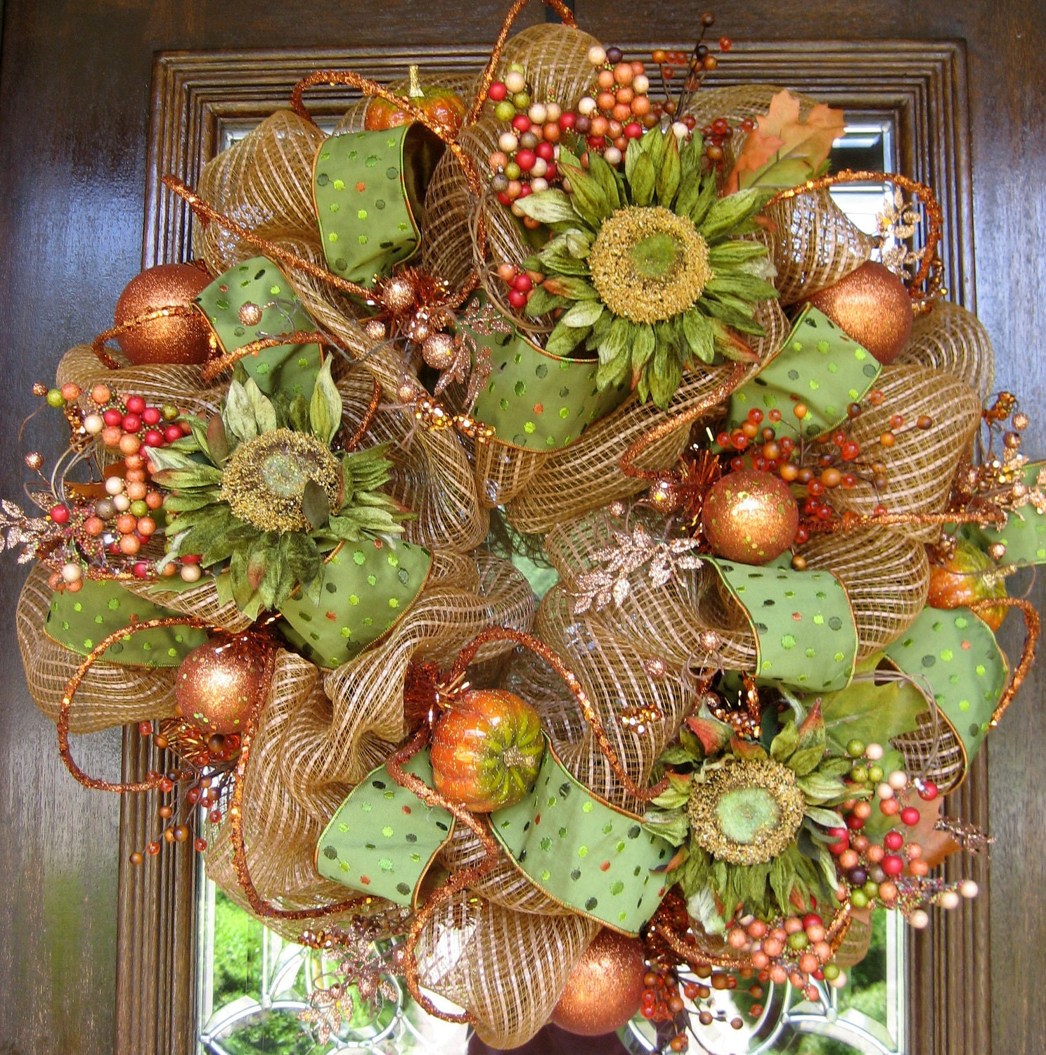Deco Mesh FALL SUNFLOWER WREATH