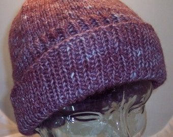 Wool and Mohair cap. Purple lavender blue.
