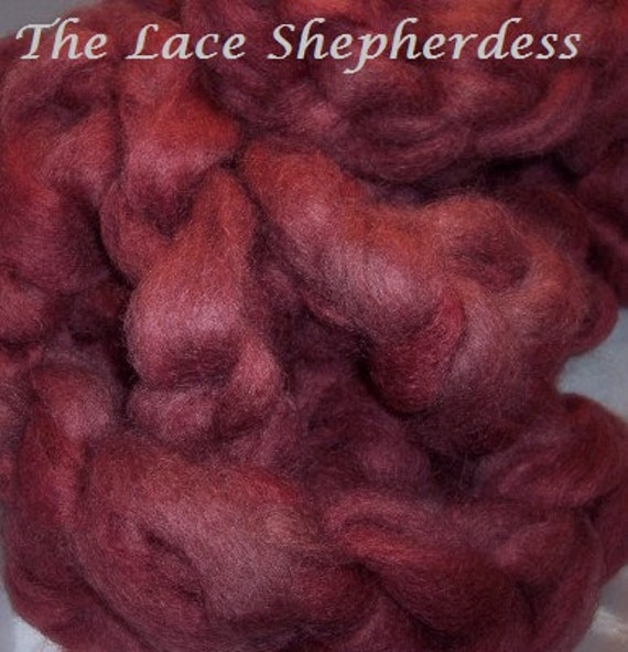 Hand dyed wool roving. 8 oz Coopworth wool. Chocolate Cherry