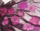 Nuno felted scarf shawl wrap - Magenta flowers