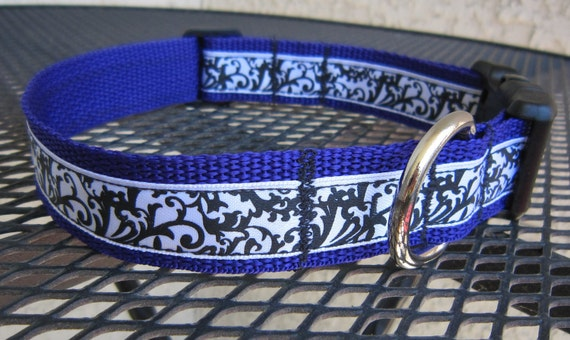 Adjustable Designer Dog Collar with Damask Print on Purple
