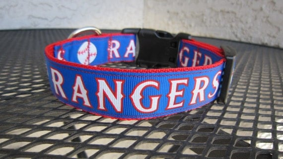 Dog Collar Made from Rangers Baseball  Inspired Ribbon Blue and Red