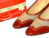 NOS 1960s Spectator Heels Midheels 60s Wingtip Fall Fashion Back to School Preppy Cordovan Leather Red Mad Men box
