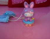 Hello Kitty Necklace, Kawaii Necklace, Cupcake Necklace, Blue Bow Hello Kitty Necklace, OOAK Gift