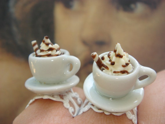 Kawaii Adjustable Ring, Cup o' Coffee,  Coffee Break Ring, Latte Cappucino Ring, Cocktail Ring by LetMeBe