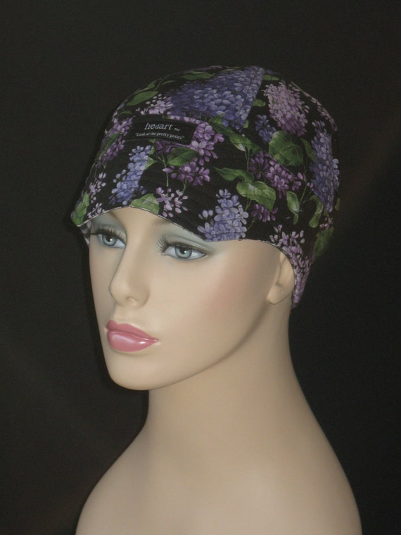 Hair Loss Cap or Hat For Cancer /Luscious Lilac with Black and White Check F39C8S23.2 Medium