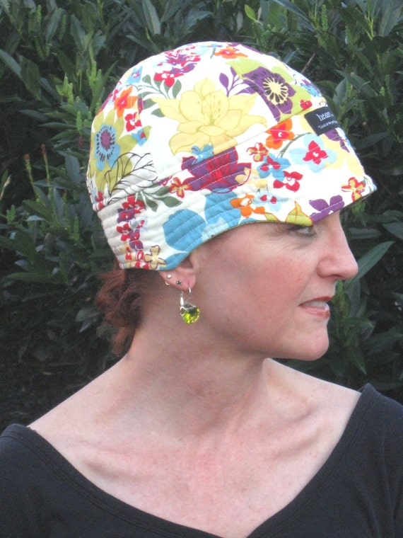 Chemo Hat for Hair loss Hat or Cap for Cancer / Cream, Blue/GreenPurple & Red Floral with Green Lining F33C19S23.1 Small-Medium