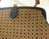 Handbag, Bamboo Handle, Woven Exterior Over Black Vinyl, Purse, c. Mid-Century