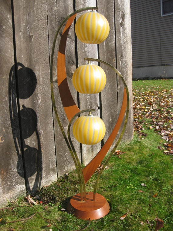 Table Lamp, Teakwood and Brass, Original Glass Globes, Mid-Century Modern, Eames Era, Reserved for Lori