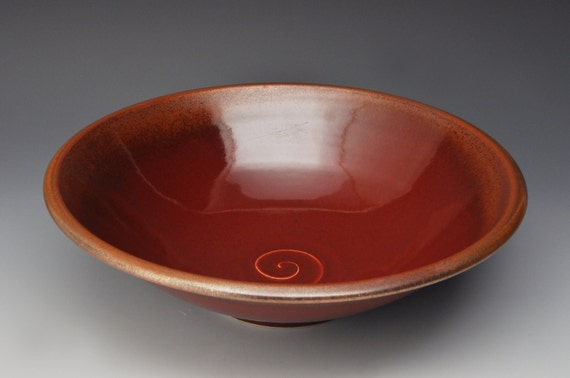 Large Red Serving Bowl For Table Centerpiece Salad Bowl