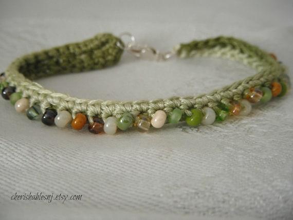 Beaded Friendship Bracelet - Crochet Beaded Bracelet - Glass Beads - Ready to Ship