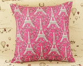 PARIS EIFFEL TOWER in Pink Premium Print Cotton Handmade Throw Pillow Case / Cushion Cover with Invisible Zipper (16 inch) & Made to Order