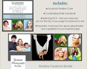 SALE Modern / Facebook TIMELINE Cover and Bonus Thumbnail, Pin It and Important Must-Have Info