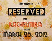 RESERVED FOR RACHELMIRA // Reserved Until 3.26.12