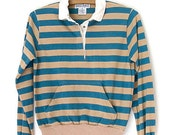 Teal and Tan Striped Polo // 80s Long Sleeved w/Pocket