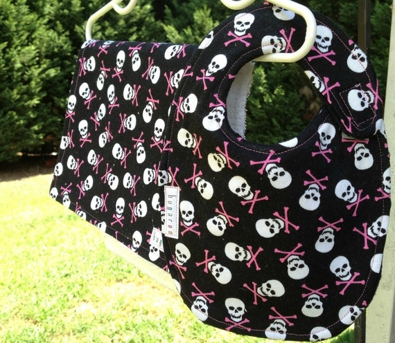 Black and White Skulls with Pink Crossbones Minky Bib & Terry Burp Cloth Set