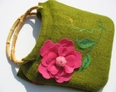 RESERVED / Free US shipping / Decorated Green Felt Purse with Bamboo Handles. Pink Flower. Birthday gift. Just because gift.