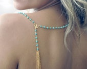 Tassel Rosary style necklace in turquoise. 14kt gold filled