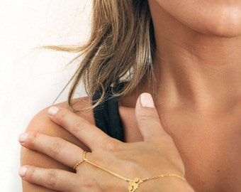 Floral Hand Chain - ring/bracelet - slave bracelet. 14kt gold filled  NOW AVAILABLE