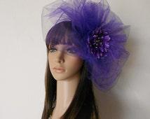 Bubble Veil-Purple Flower Fascinator-Purple Pouf Veil-Tulle Fan Veil-Bridal Accessories