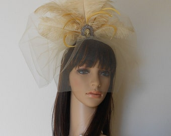 Hair Fascinator Cafe/Latte- Ostrich feathers-Cameo Headpiece- Feathers Fan-Bridal Feather Headpiece