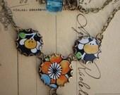 Tin Necklace Orange Navy Turquoise