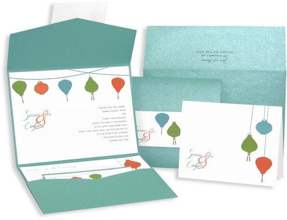 Orange and Aqua Chinese Paper Lanterns Wedding Invitation Set  - Sample