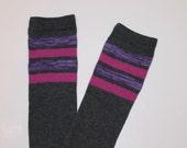 Dark Gray with Purple Althletic Stripes Baby Legs