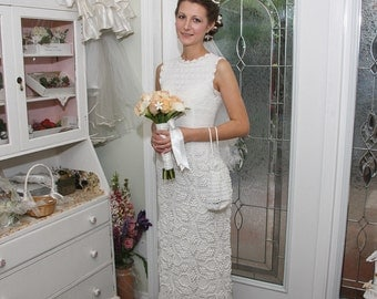 Crochet wedding dress. Made to order. Custom made