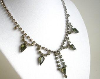 Green Rhinestone Necklace - Vintage