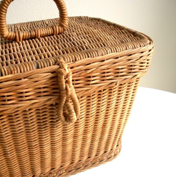 Vintage Picnic Basket - Wicker with Metal Liner - Very Old