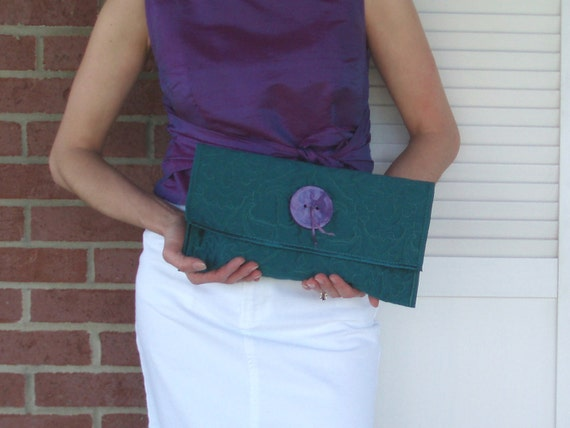Teal Brocade Clutch