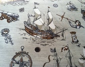 Vintage 1970s Vinyl Wallpaper-Ships and Compass