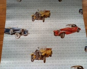 Vintage 1970s Wallpaper-Vintage Cars- by the yard