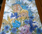Vintage Wallpaper-1960s Luxurious Irises, Lily of the Valley- by the Yard