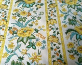 Vintage Wallpaper-1970s-Yellow and Aqua  Floral Stripe by Schumacher- by the yard