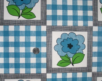 Vintage 1970s Wallpaper- Cute Plaid Floral- by the ROLL