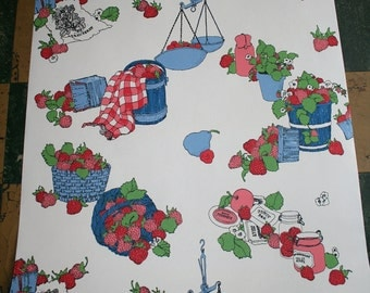 Vintage 1970s Wallpaper-Strawberry Picnic-Schumacher- by the yard