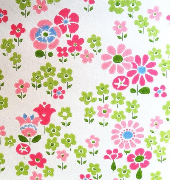 vintage 1960s wallpaper super sweet daisies and tulips