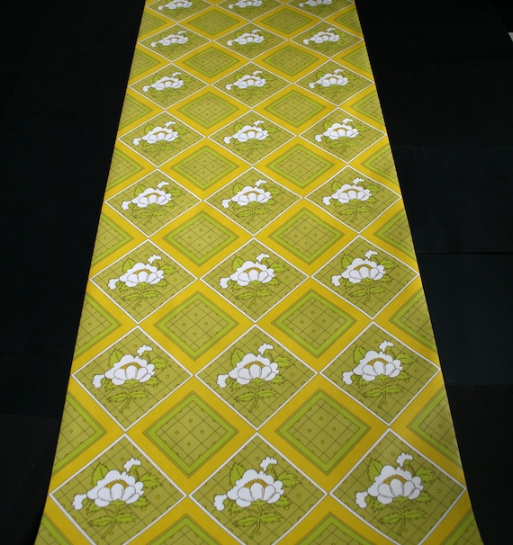Vintage 1970s Wallpaper- Groovy Diamonds & Flowers- by the ROLL