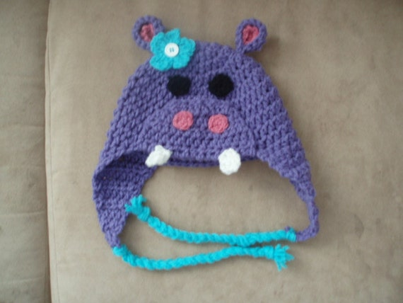 Hippo Hat Crochet Pattern All Sizes PDF by ChloesCrochetCorner